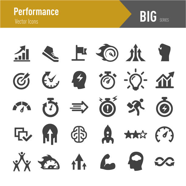 Performance Icons - Big Series Performance, Growth, Efficiency, Development, stiff stock illustrations