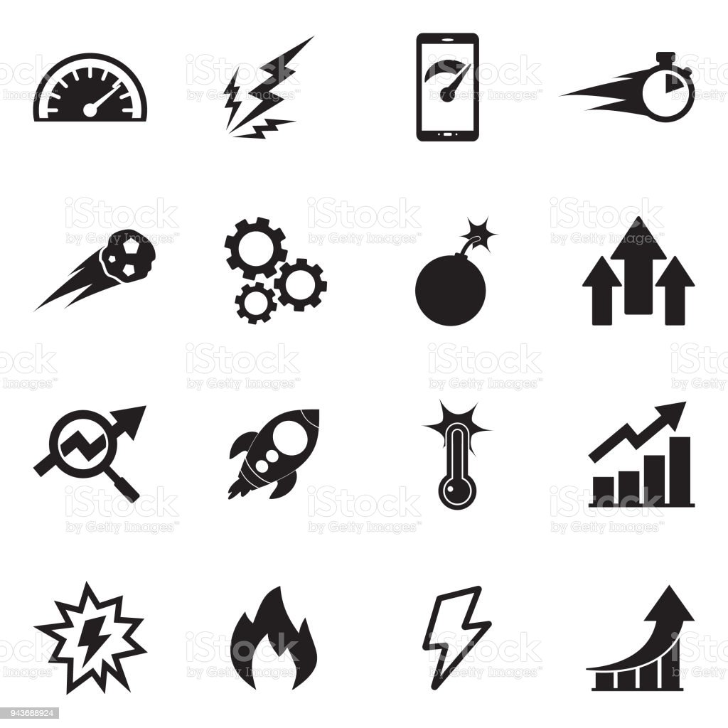 Performance Icons. Black Flat Design. Vector Illustration. vector art illustration