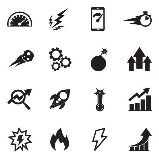 illustrazioni stock, clip art, cartoni animati e icone di tendenza di performance icons. black flat design. vector illustration. - efficacia