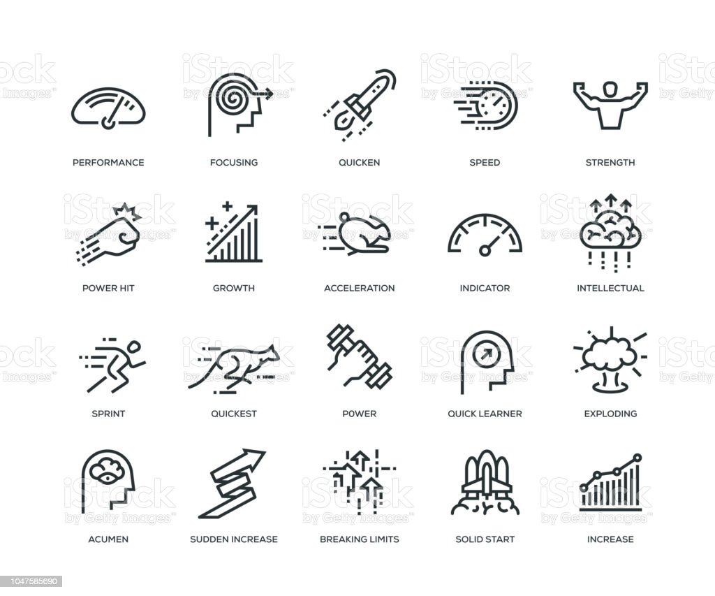 Performance Icons - Line Series vector art illustration