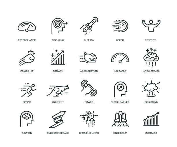performance icons - line series - autorytet stock illustrations