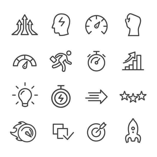 ilustraciones, imágenes clip art, dibujos animados e iconos de stock de iconos de rendimiento-serie de líneas - velocidad
