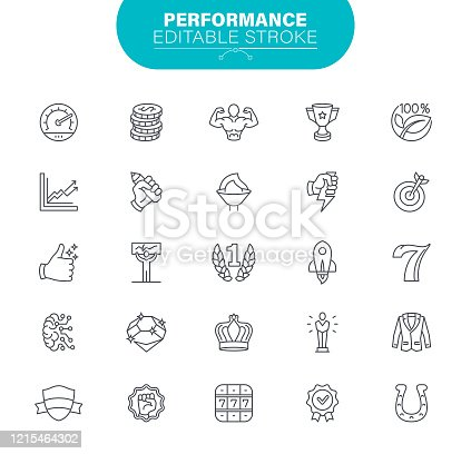 Winning, Award and Trophy, Achievement, Best Choice, Outline Icon Set