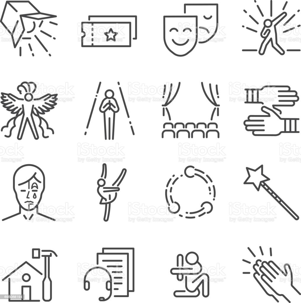 Performance line icon set. Included the icons as mask, mime, stage, concert and more. vector art illustration