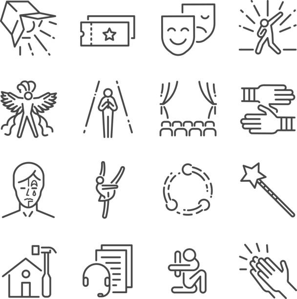 ilustrações de stock, clip art, desenhos animados e ícones de performance line icon set. included the icons as mask, mime, stage, concert and more. - atuação