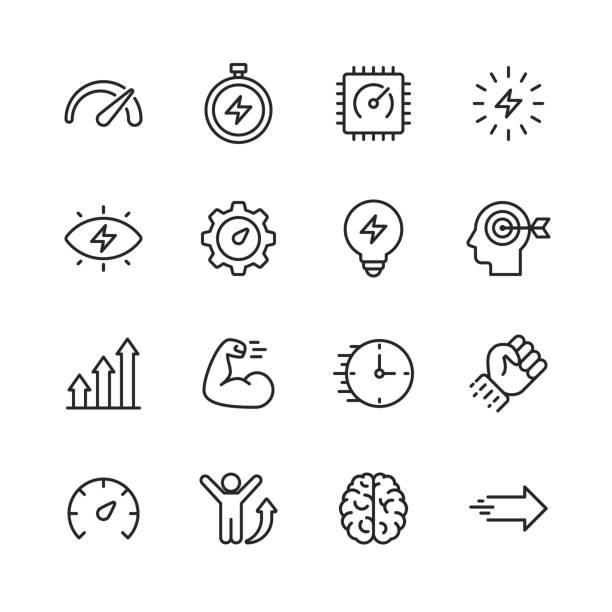 stockillustraties, clipart, cartoons en iconen met pictogrammen van de prestatie lijn. bewerkbare lijn. pixel perfect. voor mobiel en internet. bevat dergelijke iconen als prestaties, groei, feedback, lopen, snelheidsmeter, autoriteit, succes. - uitvoering