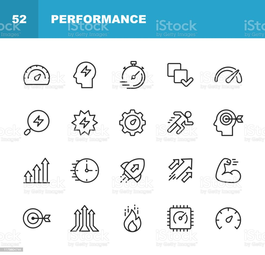 Performance Line Icons. Editable Stroke. Pixel Perfect. For Mobile and Web. Contains such icons as Performance, Growth, Feedback, Running, Speedometer, Authority, Success. - Grafika wektorowa royalty-free (Analizować)