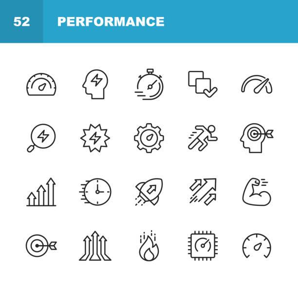 leistungsliniensymbole. bearbeitbarer strich. pixel perfekt. für mobile und web. enthält symbole wie leistung, wachstum, feedback, laufen, tachometer, autorität, erfolg. - fähigkeit stock-grafiken, -clipart, -cartoons und -symbole