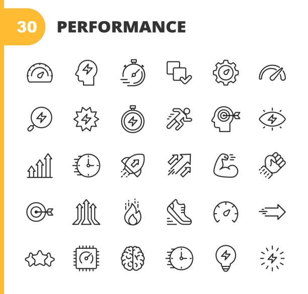 leistungsliniensymbole. bearbeitbarer strich. pixel perfekt. für mobile und web. enthält symbole wie leistung, wachstum, feedback, laufen, tachometer, autorität, erfolg, gehirn, muskel, rakete, start up, verbesserung, laufen, ziel, geschwindigkeit, bewe - fähigkeit stock-grafiken, -clipart, -cartoons und -symbole