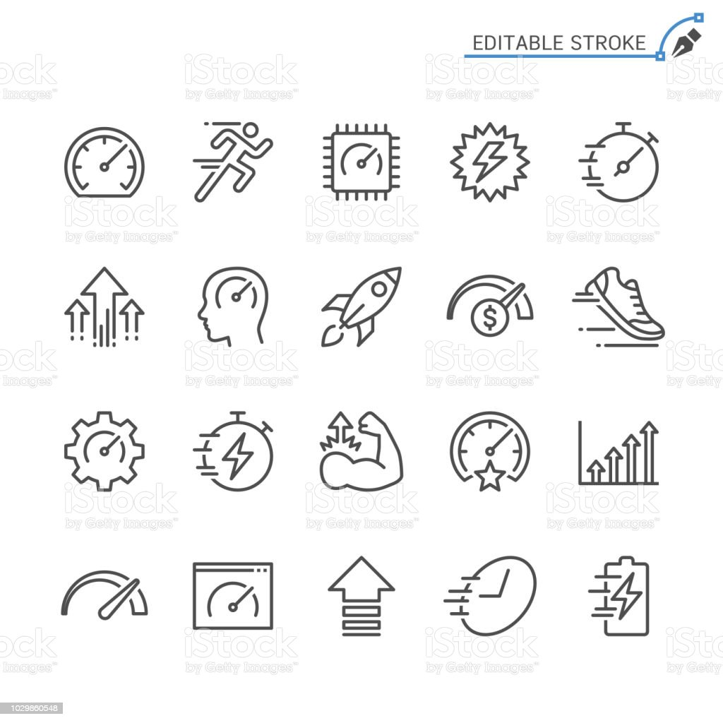 Performance line icons. Editable stroke. Pixel perfect. vector art illustration