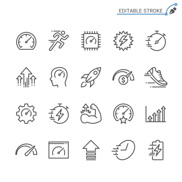 performance line icons. editable stroke. pixel perfect. - icons stock illustrations