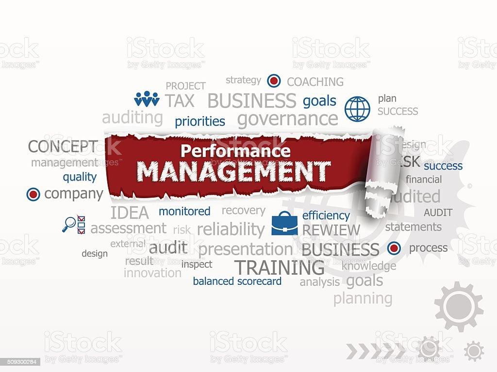 Performance management concept word cloud. vector art illustration