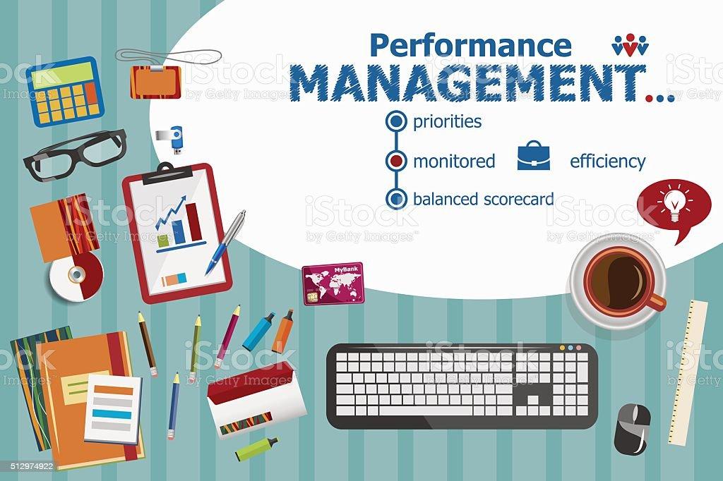 Performance management design and flat design illustration conce vector art illustration