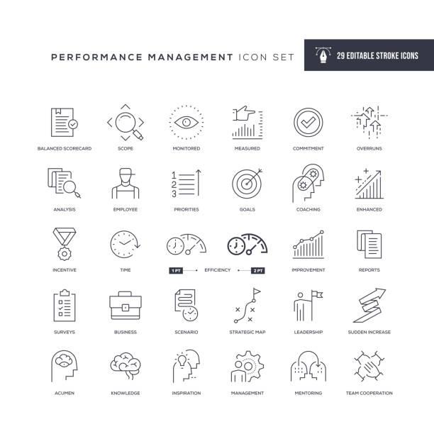 ikony linii pociągnięć edytowalnych do zarządzania wydajnością - umiejętność stock illustrations