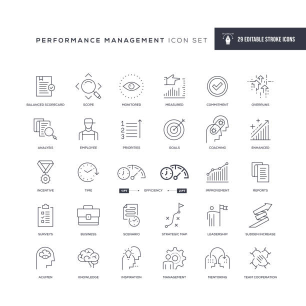 Performance Management Editable Stroke Line Icons 29 Performance Management Icons - Editable Stroke - Easy to edit and customize - You can easily customize the stroke width expertise stock illustrations