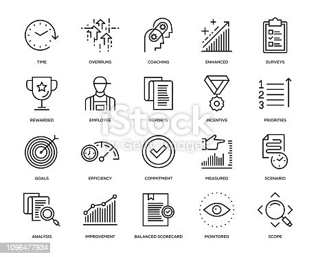 Performance Management Icon Set - Thin Line Series