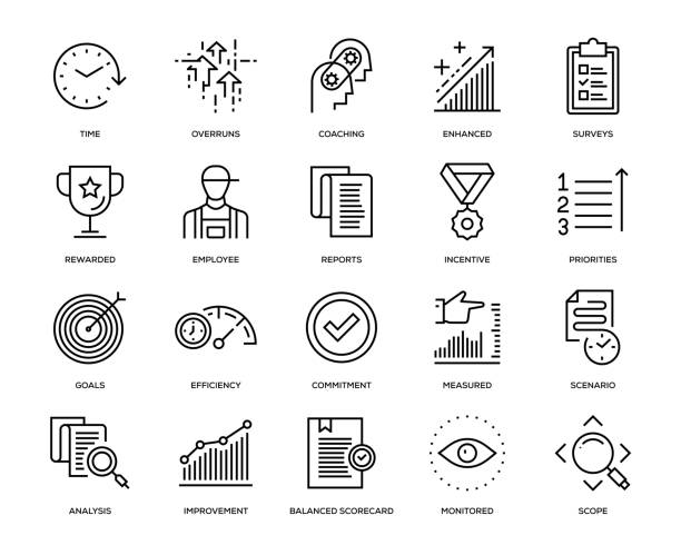 Performance Management Icon Set Performance Management Icon Set - Thin Line Series survey icon stock illustrations