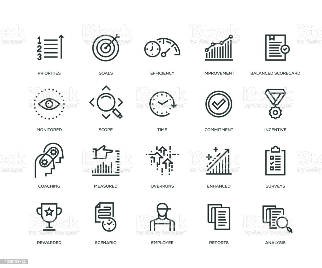 Performance Management Icons - Line Series Performance Management Icons - Line Series Achievement stock vector