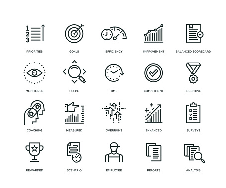 Performance Management Icons Line Series Stock Illustration - Download Image Now