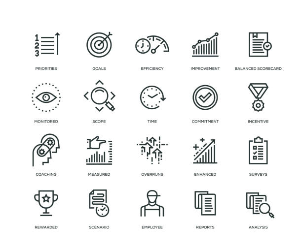 Performance Management Icons - Line Series Performance Management Icons - Line Series dedication stock illustrations