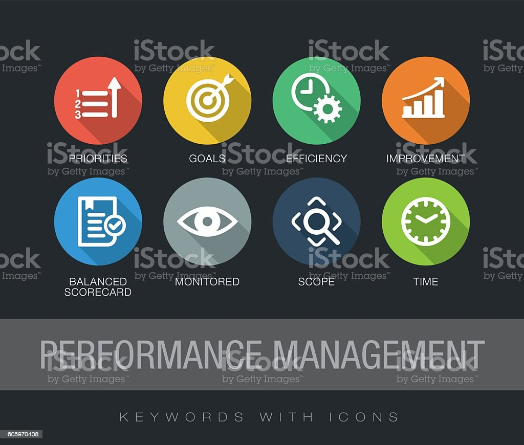 Performance Management keywords with icons vector art illustration