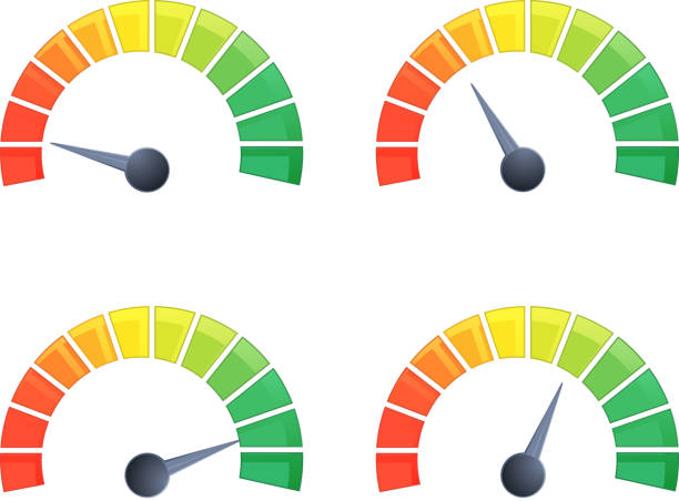 performance meter - 4 stage illustration - credit score stock illustrations, clip art, cartoons, & icons