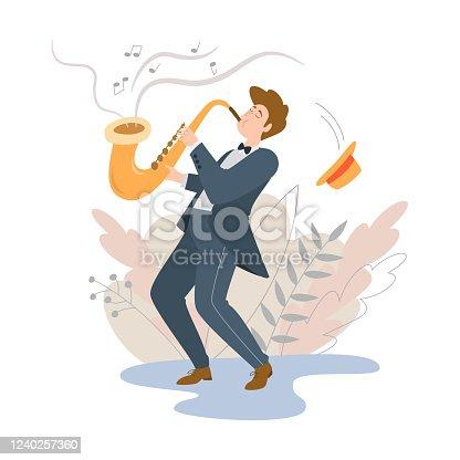 Performance of musician, Jazz saxophonist. Vector illustration.