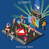 Just Dance Disco DJ Party. Interacting People Unique Isometric Realistic Poses. NEW bright palette 3D Flat Vector Set. DJ Performance Indie Music Dee-Jay Database. Share your Talent