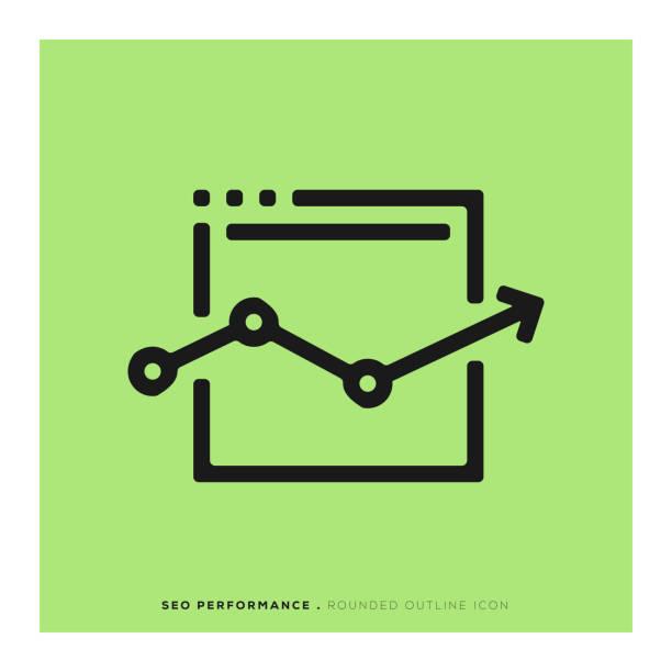 seo-performance abgerundeten liniensymbol - webdesigner grafiken stock-grafiken, -clipart, -cartoons und -symbole