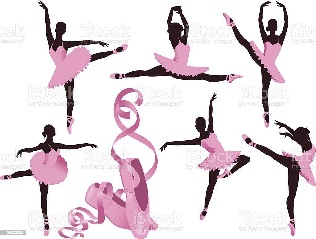 Performing Ballerinas and Ballet Shoes vector art illustration