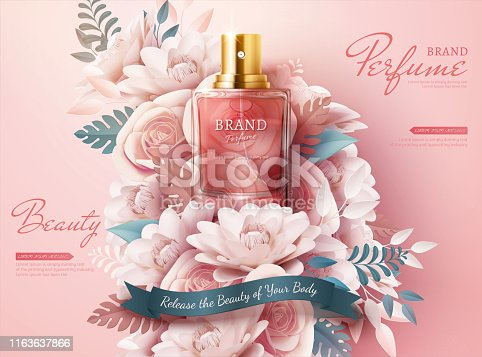 istock Perfume ads with paper flowers 1163637866