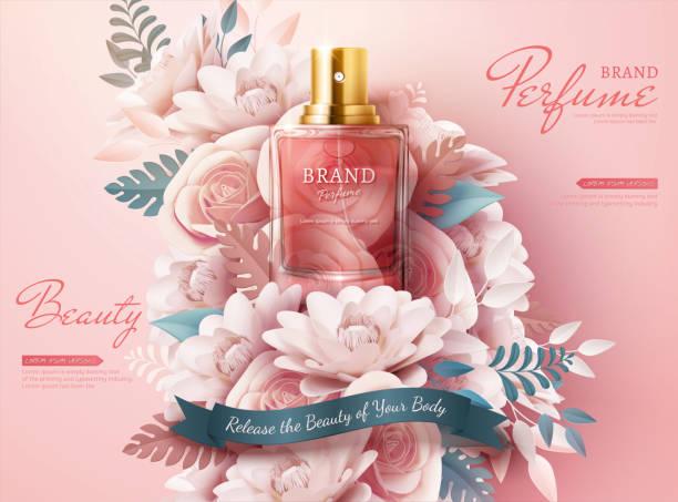 illustrazioni stock, clip art, cartoni animati e icone di tendenza di perfume ads with paper flowers - profumo