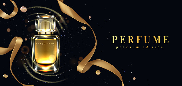 Perfume bottle with gold ribbons on black background with confetti and glowing sparkles. Scent glass tube package design. Women fragrance cosmetic product, promo poster. Realistic 3d vector ad banner
