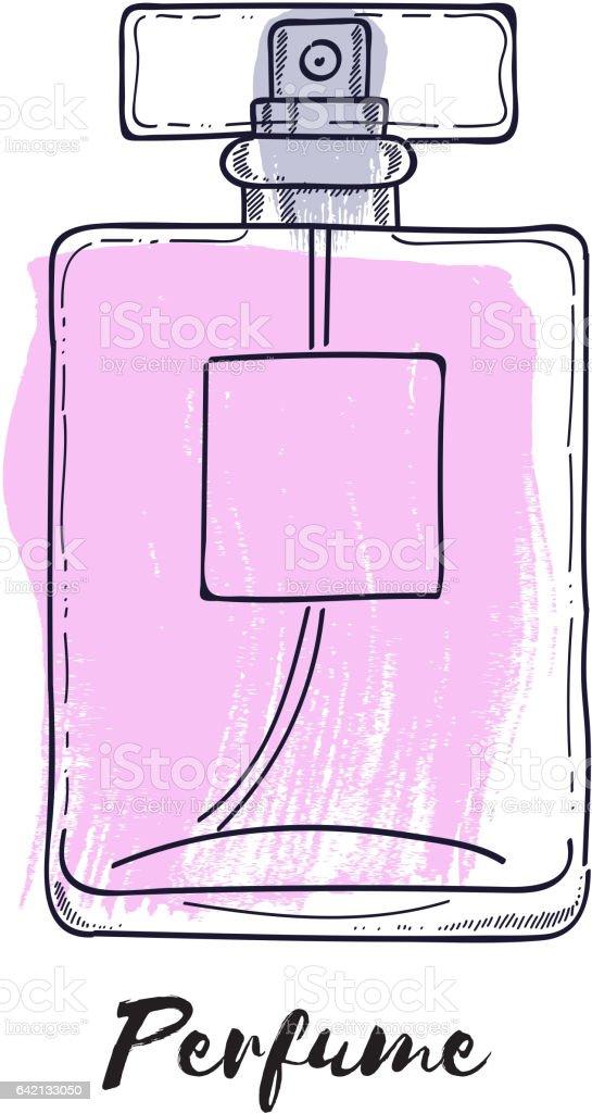 Perfume garrafa mão desenhada ilustração vetorial pintado. Eau de parfum - ilustração de arte em vetor