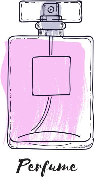 illustrazioni stock, clip art, cartoni animati e icone di tendenza di perfume bottle hand drawn painted vector illustration. eau de parfum - profumi spray