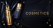istock Perfume bottle on black silk fabric background 1212664778