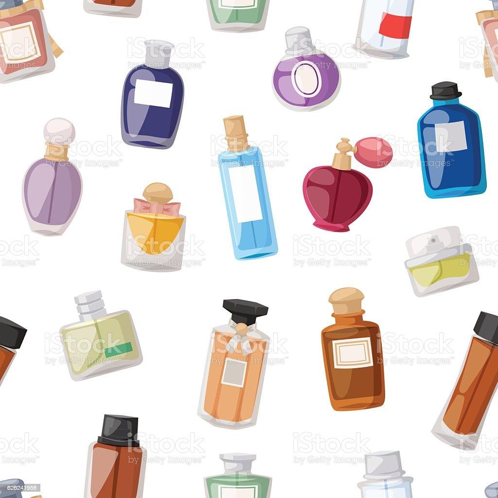 Perfume bottle seamless pattern - ilustração de arte em vetor