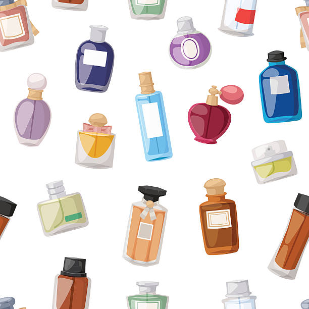 Perfume bottle seamless pattern Vector perfume fashion container seamless pattern smell spray bottle template. Vector illustration perfume shop symbols elegant merchandise gift. Beauty liquid luxury fragrance aroma perfume scented stock illustrations