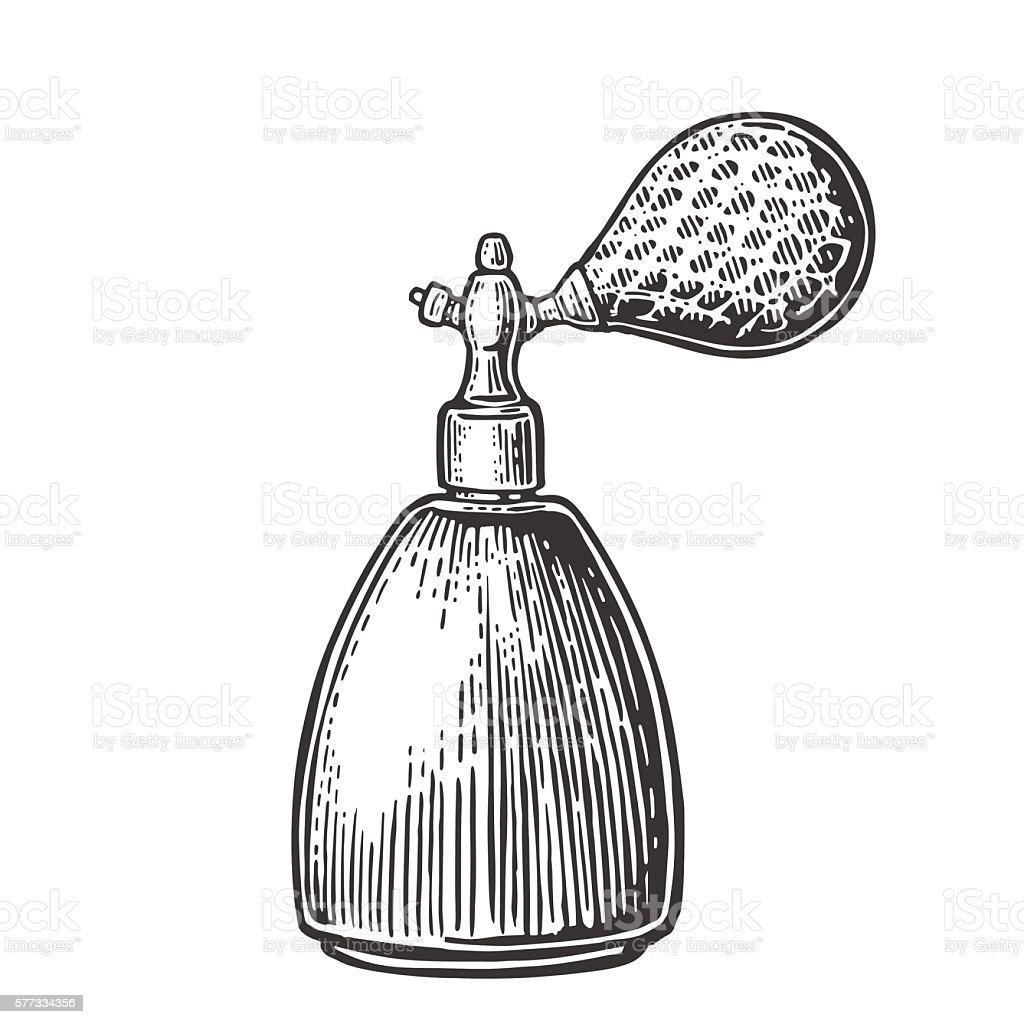 Perfume bottle spray. Vector black illustrations on white backgrounds. - ilustração de arte em vetor