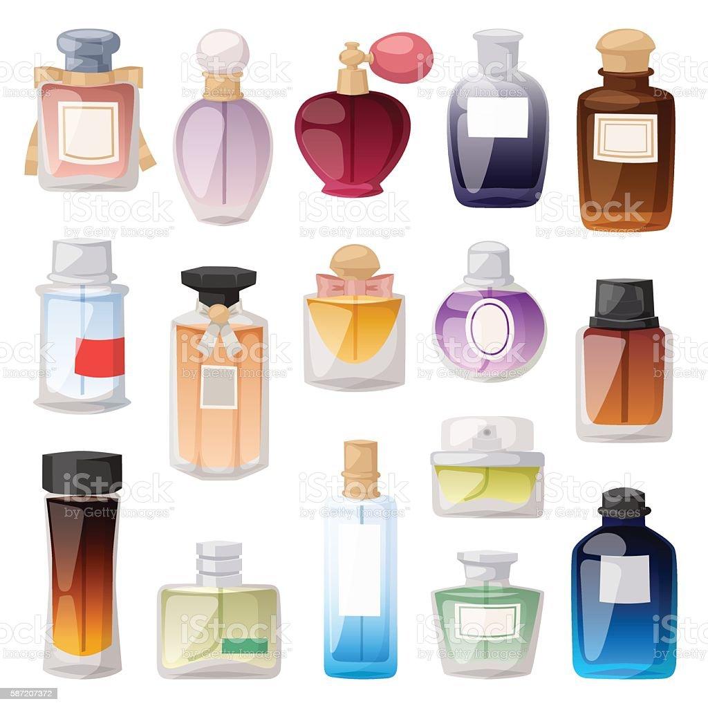 Perfume bottle vector set. - ilustração de arte em vetor