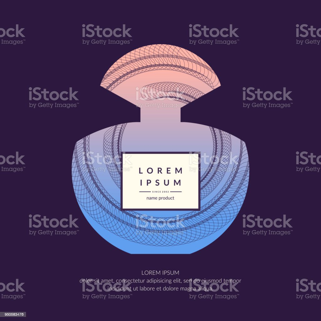 Perfume Bottle With Dynamic Lines And Waves Bright Modern