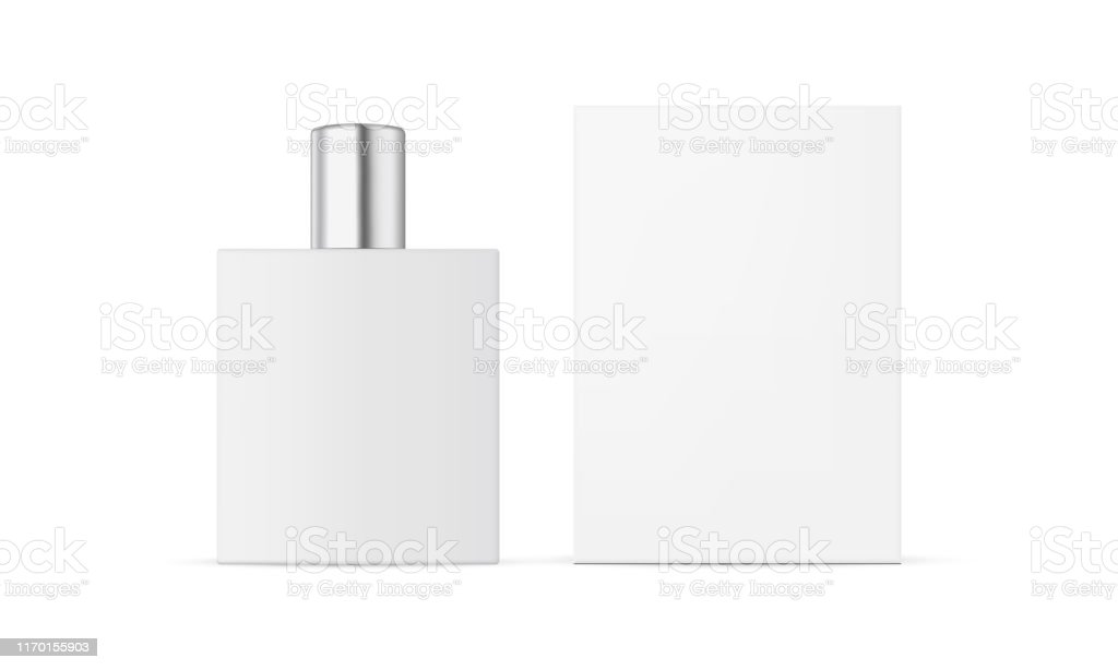 Perfume Bottle With Packaging Box Mockup Isolated On White