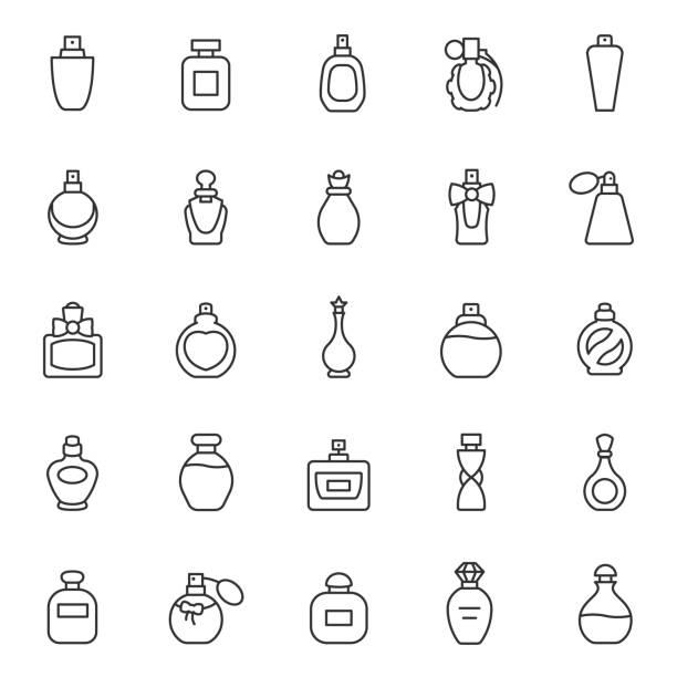 butelki perfum, zestaw ikon. eau de toaleta. pakowanie o różnych kształtach, ikony liniowe. edytowalny obrys - perfumowany stock illustrations