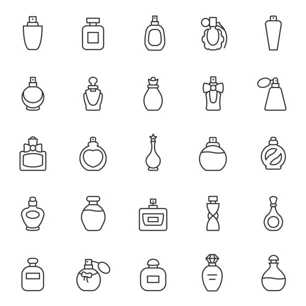 Perfume bottles, icon set. Eau de toilette. Packaging of various shapes, linear icons. Editable stroke Perfume bottles, icon set. Eau de toilette. Packaging of various shapes, linear icons. Line with editable stroke scented stock illustrations