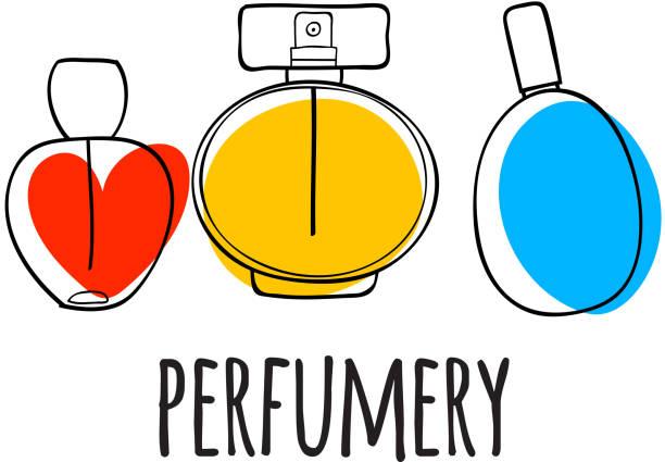 perfume bottles icons vector illustration. eau de parfum - perfumy stock illustrations