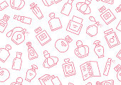 Perfume bottles seamless pattern with line icons. Vector background illustration included icon as glass sprayer, luxury parfum sampler, essential oil, cologne pink white wallpaper for cosmetic store.