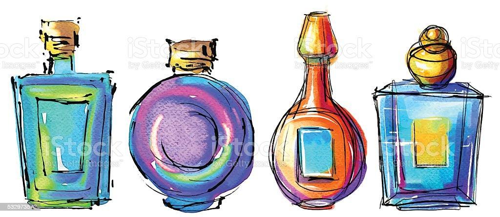 Frascos de Perfume esboço desenhado à mão conjunto - ilustração de arte em vetor