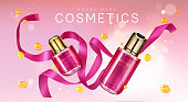 Perfume bottles with pink silk ribbon and golden confetti. Vector realistic brand poster with glass bottles for face care cosmetics, premium fragrance product. Promo banner, advertising background