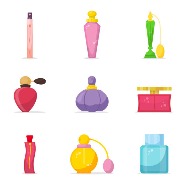 perfumy kolor szklane butelki ilustracje zestaw - perfumowany stock illustrations