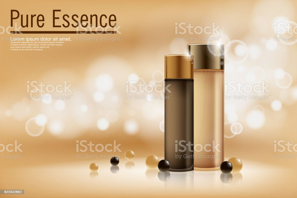 Perfume contained on bronze background with soft bokeh. Poster for the promotion of moisturizing and nourishing cosmetic premium product. Vector illustration vector art illustration
